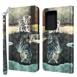 Tiger and Cat 3D Painted Leather Wallet Case for Samsung Galaxy S30 Ultra / S21 Ultra