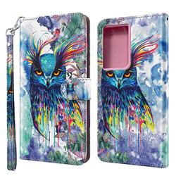 Watercolor Owl 3D Painted Leather Wallet Case for Samsung Galaxy S30 Ultra / S21 Ultra