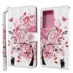 Tree and Cat 3D Painted Leather Wallet Case for Samsung Galaxy S30 Ultra / S21 Ultra