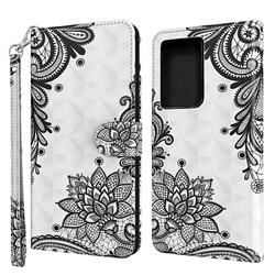 Black Lace Flower 3D Painted Leather Wallet Case for Samsung Galaxy S30 Ultra / S21 Ultra