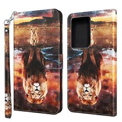 Fantasy Lion 3D Painted Leather Wallet Case for Samsung Galaxy S21 Ultra / S30 Ultra