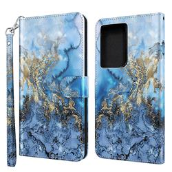 Milky Way Marble 3D Painted Leather Wallet Case for Samsung Galaxy S21 Ultra / S30 Ultra