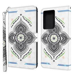 Mandala Totem 3D Painted Leather Wallet Case for Samsung Galaxy S21 Ultra / S30 Ultra