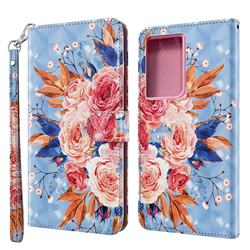 Rose Flower 3D Painted Leather Wallet Case for Samsung Galaxy S21 Ultra / S30 Ultra