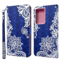 White Lace 3D Painted Leather Wallet Case for Samsung Galaxy S21 Ultra / S30 Ultra