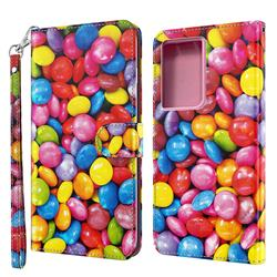 Colorful Jelly Beans 3D Painted Leather Wallet Case for Samsung Galaxy S21 Ultra / S30 Ultra