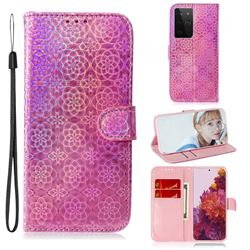 Laser Circle Shining Leather Wallet Phone Case for Samsung Galaxy S21 Ultra / S30 Ultra - Pink