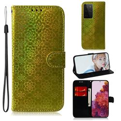 Laser Circle Shining Leather Wallet Phone Case for Samsung Galaxy S21 Ultra / S30 Ultra - Golden