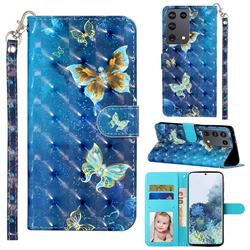 Rankine Butterfly 3D Leather Phone Holster Wallet Case for Samsung Galaxy S21 Ultra / S30 Ultra