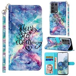 Blue Starry Sky 3D Leather Phone Holster Wallet Case for Samsung Galaxy S21 Ultra / S30 Ultra