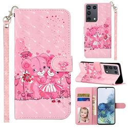 Pink Bear 3D Leather Phone Holster Wallet Case for Samsung Galaxy S21 Ultra / S30 Ultra