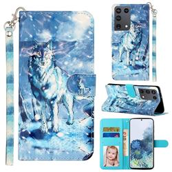 Snow Wolf 3D Leather Phone Holster Wallet Case for Samsung Galaxy S21 Ultra / S30 Ultra