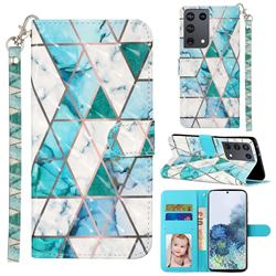 Stitching Marble 3D Leather Phone Holster Wallet Case for Samsung Galaxy S21 Ultra / S30 Ultra