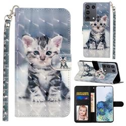 Kitten Cat 3D Leather Phone Holster Wallet Case for Samsung Galaxy S21 Ultra / S30 Ultra
