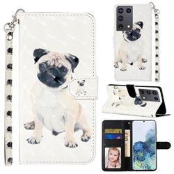 Pug Dog 3D Leather Phone Holster Wallet Case for Samsung Galaxy S21 Ultra / S30 Ultra