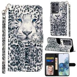 White Leopard 3D Leather Phone Holster Wallet Case for Samsung Galaxy S21 Ultra / S30 Ultra