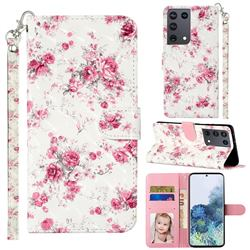 Rambler Rose Flower 3D Leather Phone Holster Wallet Case for Samsung Galaxy S21 Ultra / S30 Ultra
