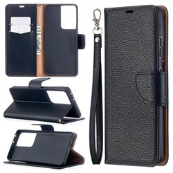 Classic Luxury Litchi Leather Phone Wallet Case for Samsung Galaxy S21 Ultra / S30 Ultra - Black