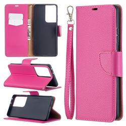 Classic Luxury Litchi Leather Phone Wallet Case for Samsung Galaxy S21 Ultra / S30 Ultra - Rose
