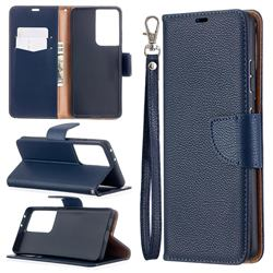 Classic Luxury Litchi Leather Phone Wallet Case for Samsung Galaxy S21 Ultra / S30 Ultra - Blue