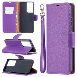 Classic Luxury Litchi Leather Phone Wallet Case for Samsung Galaxy S21 Ultra / S30 Ultra - Purple