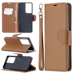 Classic Luxury Litchi Leather Phone Wallet Case for Samsung Galaxy S21 Ultra / S30 Ultra - Brown
