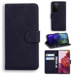 Retro Classic Skin Feel Leather Wallet Phone Case for Samsung Galaxy S21 Ultra / S30 Ultra - Black