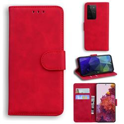 Retro Classic Skin Feel Leather Wallet Phone Case for Samsung Galaxy S21 Ultra / S30 Ultra - Red