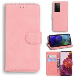 Retro Classic Skin Feel Leather Wallet Phone Case for Samsung Galaxy S21 Ultra / S30 Ultra - Pink