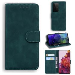 Retro Classic Skin Feel Leather Wallet Phone Case for Samsung Galaxy S21 Ultra / S30 Ultra - Green