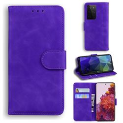 Retro Classic Skin Feel Leather Wallet Phone Case for Samsung Galaxy S21 Ultra / S30 Ultra - Purple