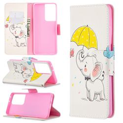 Umbrella Elephant Leather Wallet Case for Samsung Galaxy S21 Ultra / S30 Ultra
