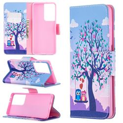 Tree and Owls Leather Wallet Case for Samsung Galaxy S21 Ultra / S30 Ultra