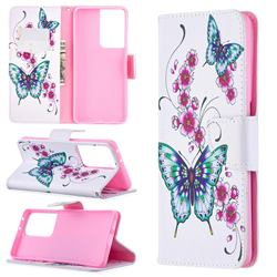 Peach Butterflies Leather Wallet Case for Samsung Galaxy S21 Ultra / S30 Ultra