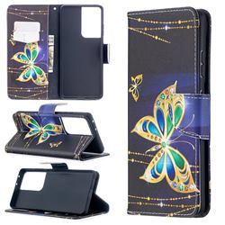 Golden Shining Butterfly Leather Wallet Case for Samsung Galaxy S21 Ultra / S30 Ultra