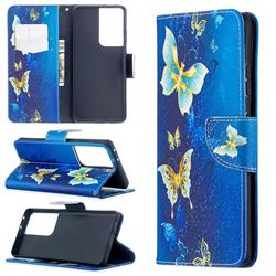 Golden Butterflies Leather Wallet Case for Samsung Galaxy S21 Ultra / S30 Ultra