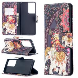 Totem Flower Elephant Leather Wallet Case for Samsung Galaxy S21 Ultra / S30 Ultra