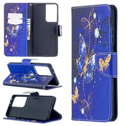 Purple Butterfly Leather Wallet Case for Samsung Galaxy S21 Ultra / S30 Ultra
