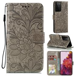 Intricate Embossing Lace Jasmine Flower Leather Wallet Case for Samsung Galaxy S21 Ultra / S30 Ultra - Gray