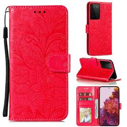 Intricate Embossing Lace Jasmine Flower Leather Wallet Case for Samsung Galaxy S21 Ultra / S30 Ultra - Red