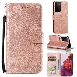 Intricate Embossing Lace Jasmine Flower Leather Wallet Case for Samsung Galaxy S21 Ultra / S30 Ultra - Rose Gold