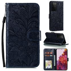 Intricate Embossing Lace Jasmine Flower Leather Wallet Case for Samsung Galaxy S21 Ultra / S30 Ultra - Dark Blue