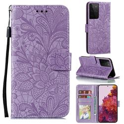 Intricate Embossing Lace Jasmine Flower Leather Wallet Case for Samsung Galaxy S21 Ultra / S30 Ultra - Purple