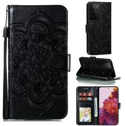 Intricate Embossing Datura Solar Leather Wallet Case for Samsung Galaxy S21 Ultra / S30 Ultra - Black