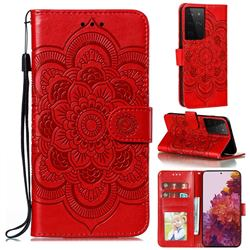 Intricate Embossing Datura Solar Leather Wallet Case for Samsung Galaxy S21 Ultra / S30 Ultra - Red