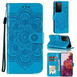 Intricate Embossing Datura Solar Leather Wallet Case for Samsung Galaxy S21 Ultra / S30 Ultra - Blue