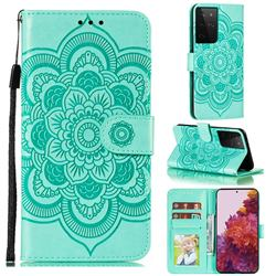 Intricate Embossing Datura Solar Leather Wallet Case for Samsung Galaxy S21 Ultra / S30 Ultra - Green