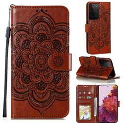 Intricate Embossing Datura Solar Leather Wallet Case for Samsung Galaxy S21 Ultra / S30 Ultra - Brown