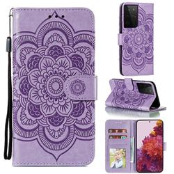 Intricate Embossing Datura Solar Leather Wallet Case for Samsung Galaxy S21 Ultra / S30 Ultra - Purple