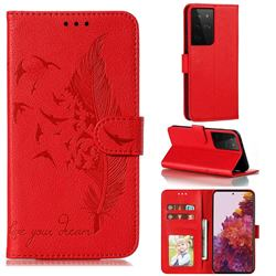 Intricate Embossing Lychee Feather Bird Leather Wallet Case for Samsung Galaxy S21 Ultra / S30 Ultra - Red